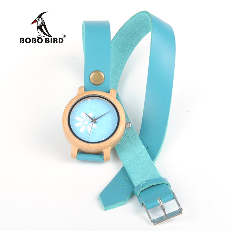 BOBO BIRD Bamboo Women Watch Long Band Multi Layers Rivet Leather Watch Girl Brand Vintage Clock Ladies Dress Watch in Gift Box