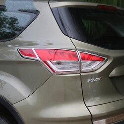 Car Styling dla Ford Kuga Escape 2013 2014 2015 zewnętrzne ABS Chrome światło główne pokrywa wykończenia tylna lampa wykończenia dekoracji 4 sztuk