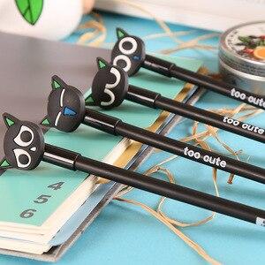 Image 2 - Jonvon satone 40 pçs por atacado dos desenhos animados gato preto caneta neutra 0.38mm preto gel de carbono canetas caneta fonte escritório suprimentos criativos