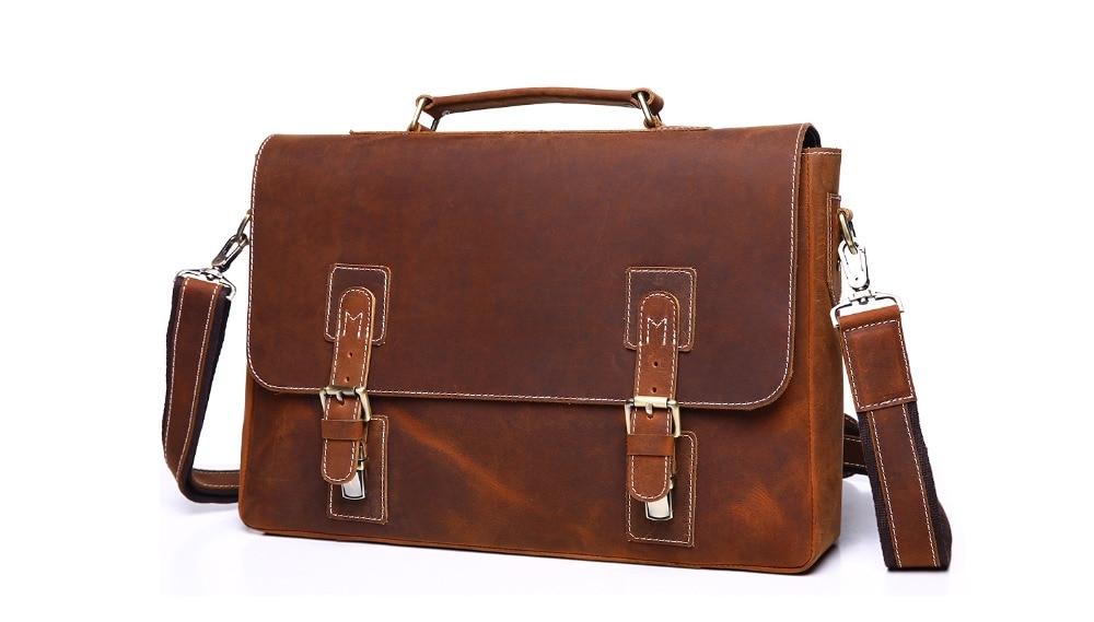 Nesitu Vintage 100% Guarantee Genuine Leather Crazy Horse Leather Men Messenger Bags Man Briefcase Portfolio #M6301
