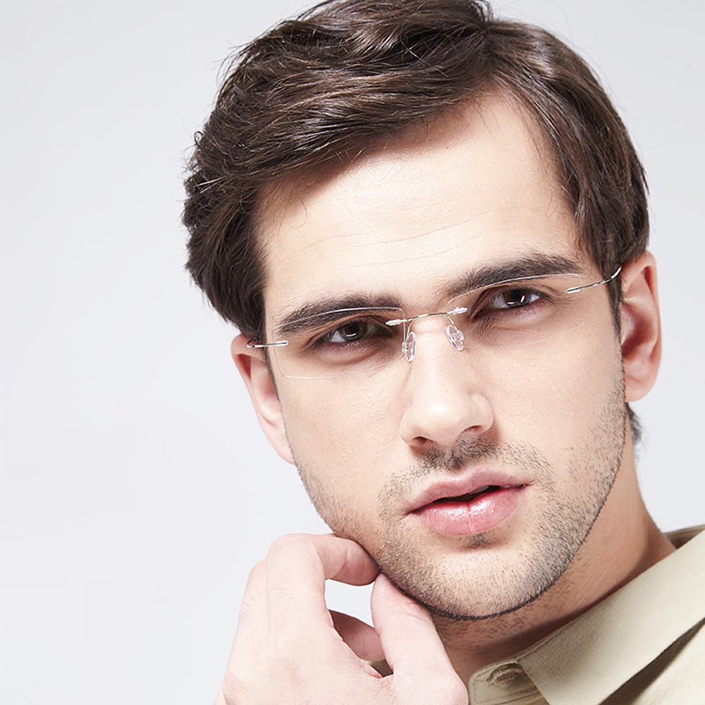Titanium Glasses Frame Men Rimless Prescription Eyeglasses Women Myopia Optical Frames Ultralight Korean Screwless Eyewear in Men 39 s Eyewear Frames from Apparel Accessories