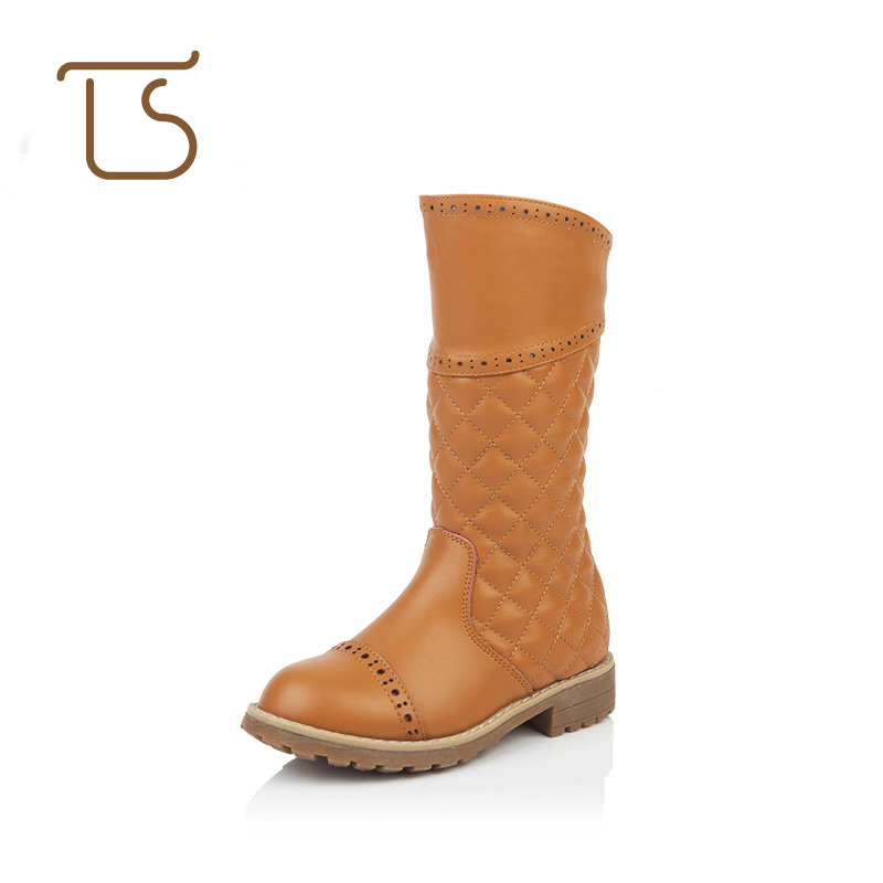 T.S. kids boots New Classic Genuine Leather Big Girls Tall calf  fretwork Boots Children Shoes Martin kids flat boots Size 28-36 2016 new fashion children martin boots girls boys winter shoes kids rain boots pu leather kids sneakers waterproof anti skid