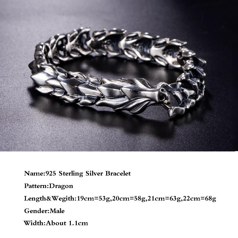 BALMORA 100% réel 925 argent Sterling tête de Dragon écailles dominateur homme Bracelet environ 20 cm bijoux de mode Vintage JWB59082 - 2