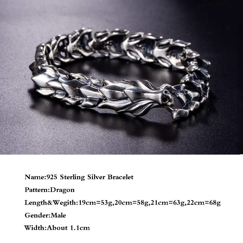 BALMORA Plata de Ley 925 100% auténtica cabeza de dragón escamas pulsera dominadora masculina unos 20cm joyería de moda Vintage JWB59082 - 2