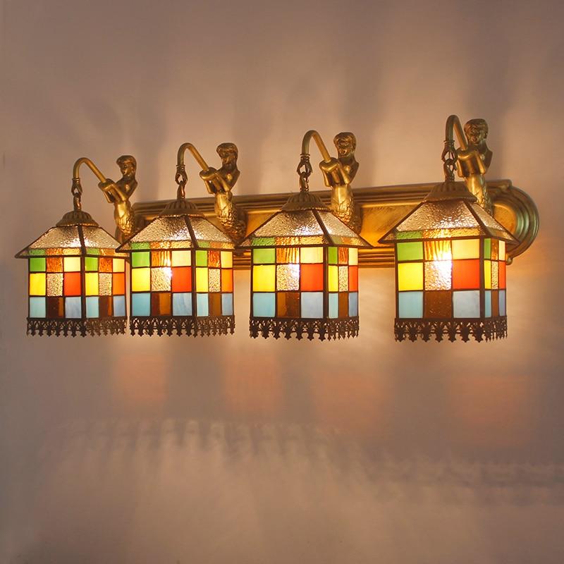 Свет светодиодный Средиземноморский ванная комната, зеркало, настенные светильники туалете ванной комнаты зеркало для макияжа Светильник