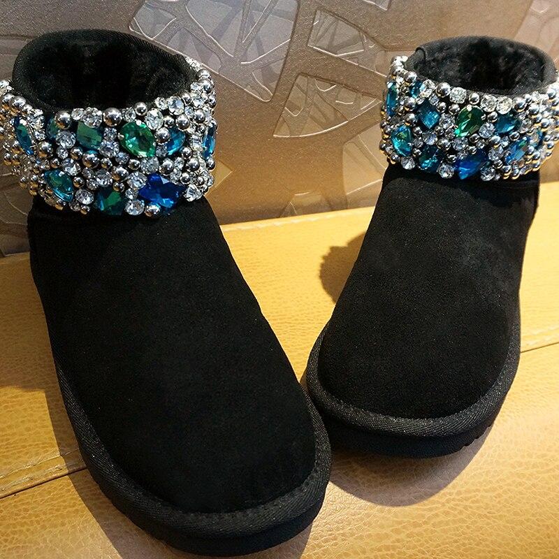 Hiver nouvelle marée marque à la main de luxe strass bottes de neige de mode chaud en cuir véritable bottes d'équitation.