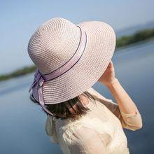 9f0642b5d3b Womens Summer Fisherman Straw Bucket Hat Ribbon Bowknot Large Wide Brim  Sunscreen Visor Round Top Beach