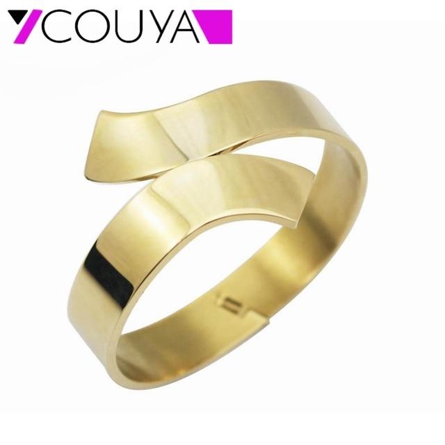 2017 Fashion 316L stainless steel shiny Cross cuff bangle bracelets women gold bracelets & bangles  jewelry Free shipping