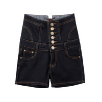 Women Fashion Single Breasted Denim Shorts Summer High Waist Casual Jeans Ladies Bodycon Slim Short Jeans Plus Size AA51274