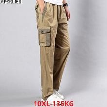 Męskie spodnie cargo spodnie duży rozmiar duże 5XL 7XL 8XL 9XL 10XL spodnie ze stretchem jesień wojskowy w stylu safari proste spodnie kieszeń khaki 50 tanie tanio Mężczyźni Pełnej długości Safari Style Luźne Suknem Mieszkanie 3-3 8 Poliester COTTON Cargo pants cao2669 Kieszenie