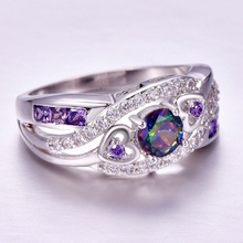 Purple White CZ Silver Color Ring
