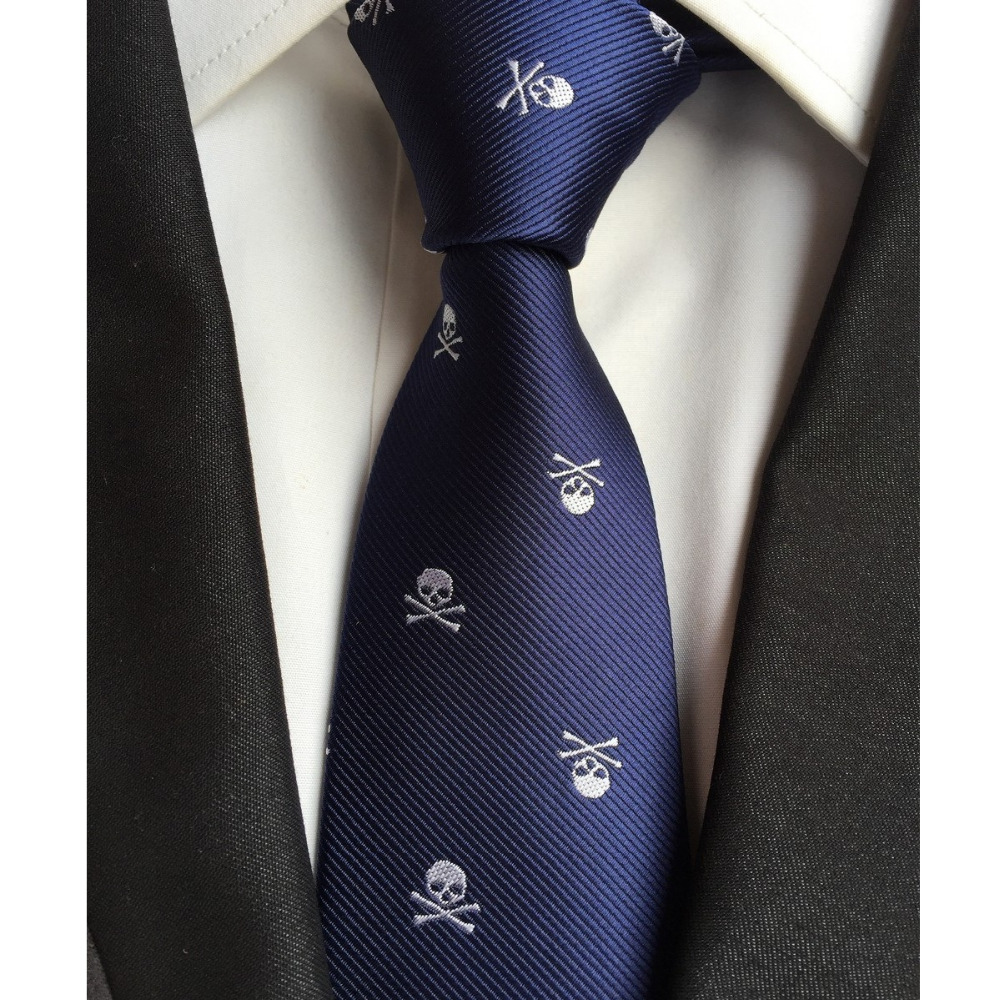 Skull Neck Tie For Men 6 Colors Halloween Party Slim Ties 6cm