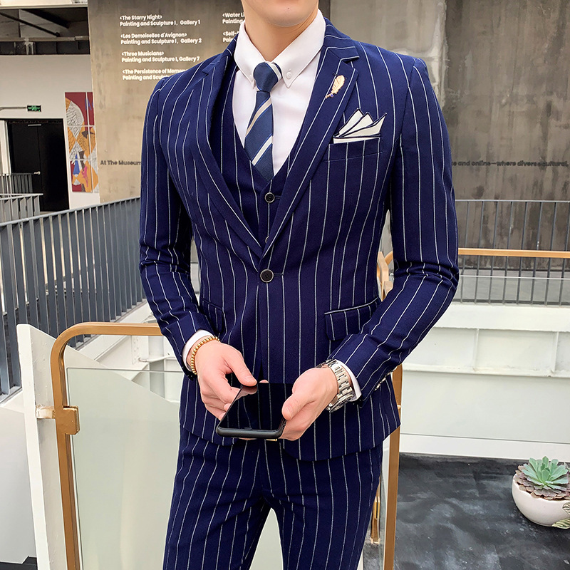 Men's Stripe Business Reception Ropa Hombre Formal Suited Suit Set Three-Piece Two Buckle Small Suit