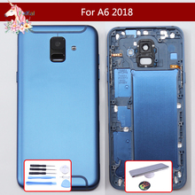 10pcs/ For Samsung Galaxy A6 2018 A600 A600F SM-A600F Back Battery Cover Rear Glass Housing Case with Camera lens Side Buttons цена и фото