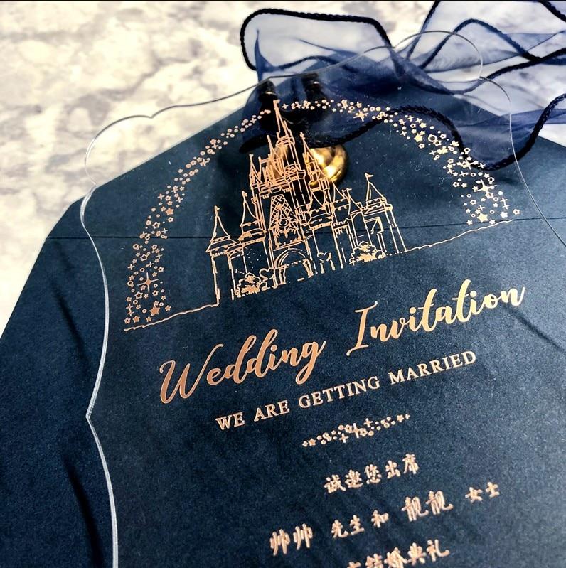 Darmowa wysyłka 40 sztuk spersonalizowane laserowe zaproszenia ślubne karty akrylowe wizytówki niestandardowe zaproszenia eleganckie złote litery w Kartki i zaproszenia od Dom i ogród na  Grupa 1