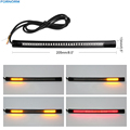 48LED Flexible Motorcycle Brake Light Strip Tail Stop Turn Signal Light License Plate Lamp Red And Yellow