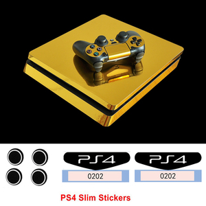 Cool Golden Silver Blue Vinyl Game Cover Skin For Playstation 4 Slim PS4 Slim Console Protect For PS4 Controllers Decals