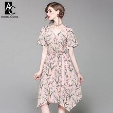 spring summer runway designer women dress white flower green leaf print pin sky blue dress waist bow v-neck knee length dress