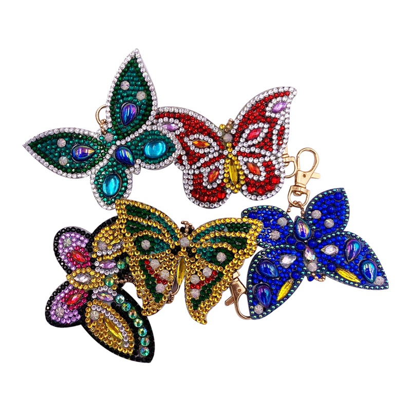 New 5D Diy Diamond Painting Keychain Fashion Cartoon Butterfly Keychain Handmade Diamond Bag Pendant Hooks & Rails     - title=