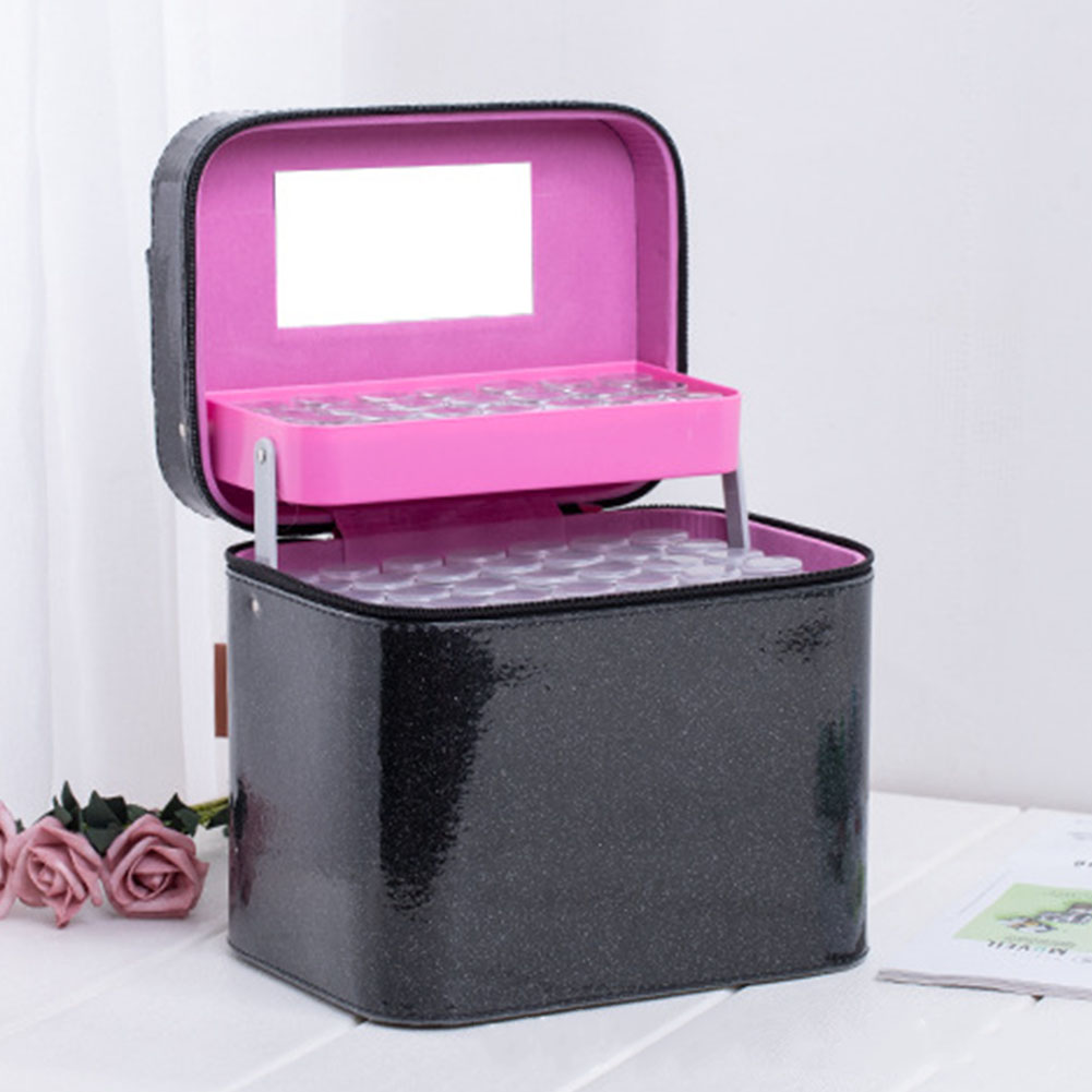 126 Bottle Non Toxic Diamond Solid Case Beads Display PU Accessory Embroidery Durable Handbag Storage Box