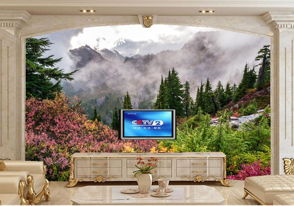 Mountains Fog Fir Nature photo Spruce wallpaper,living room TV background sofa wall bedroom kitchen restaurant bar 3d mural remote switch wall light free shipping 3 gang 1 way remote control touch switch eu standard gold crystal glass panel led