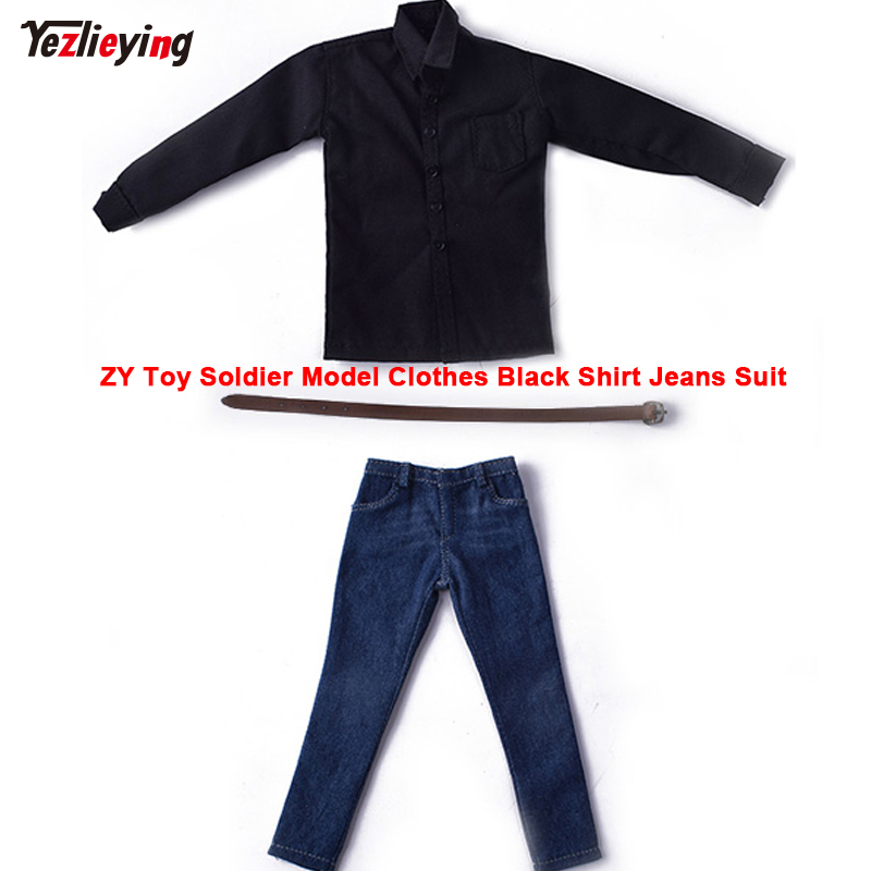 1:6 Scale ZY Toys Soldier Man/Male Model Clothes Black Shirt Jeans Suit fit 12 Inch Action Figure Doll Clothing Annex