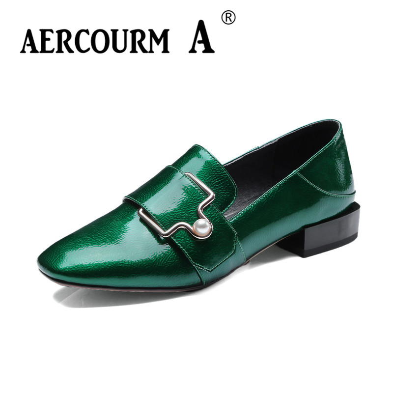 Aercourm A 2018 Spring Women Green Wine-red Pumps Square Toe Patent Leather Shoes Square Heel Metal Button Low Heels Shoes DTN16 hee grand sweet patent leather women oxfords shoes for spring pointed toe platform low heels pumps brogue shoes woman xwd6447