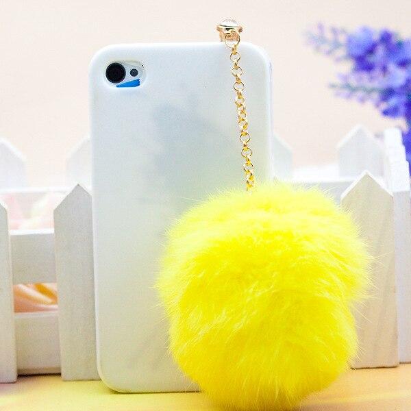 Coloré Rex fausse fourrure balle conception de mode style 3.5mm téléphone portable bouchon doreille bouchon anti-poussière pour Iphone Samsung bouchon anti-poussière