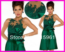 New Fashion Green Jewel Beads Lace Short Prom Dresses Cocktail Party Dress E3449