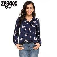 Zeagoo Mulheres T-shirt de Manga Comprida Com Decote Em V Padrão T-shirt Asymmetric Hem Solto Tee Casual Tops Moda Roupas Femininas Blusa Femme
