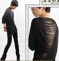 Hombre Sexy Back Diseño Algodón de Manga Tres Cuartos T-shirt Casual Slim Fit 2016 de Moda Top Tees Verano