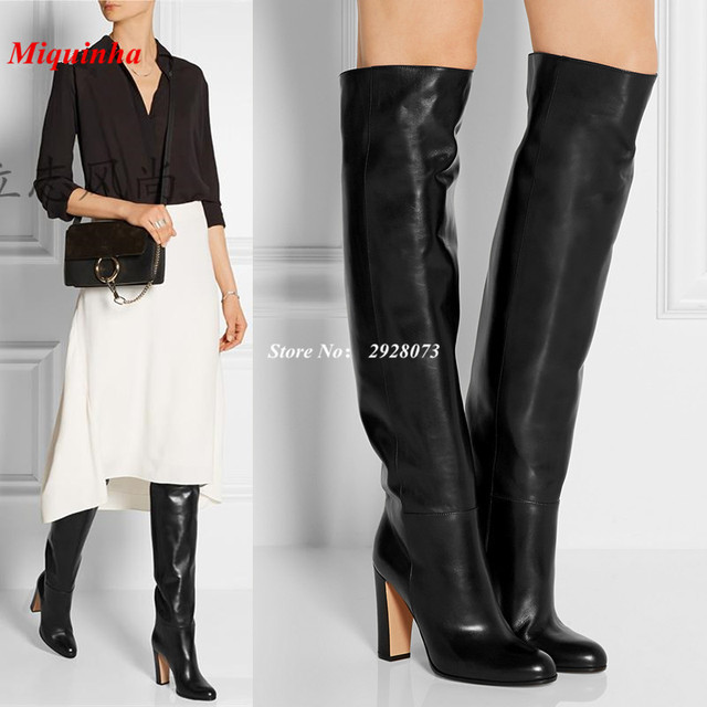 Soft Black Leather Knee High Women Boots Block High Heels Shoes Women Boots Round Toe -9025