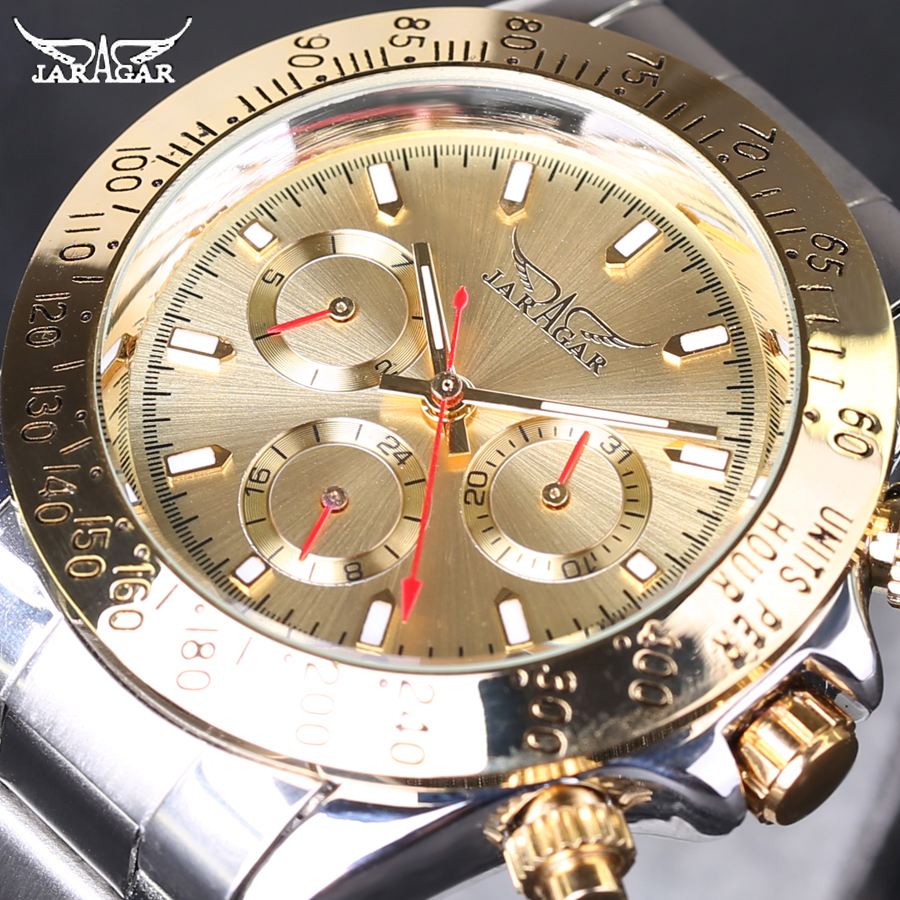 JARAGAR Man Mechanical Watch Automatic Self Wind Male Wristwatch Stainless Steel Strap 2016 Hot Fashion Gift Free Shipping k colouring women ladies automatic self wind watch hollow skeleton mechanical wristwatch for gift box