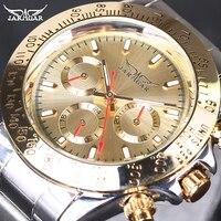 Jaragar man mechanisch horloge automatische wind mannelijke horloge rvs strap 2016 hot fashion gift gratis verzending