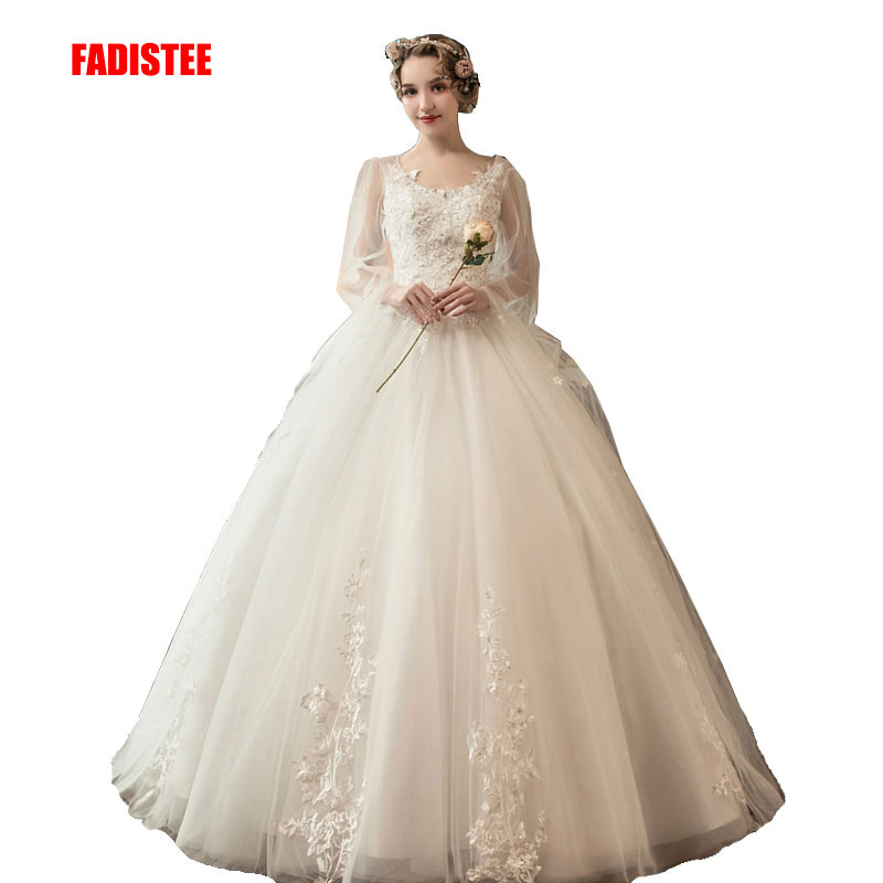 FADISTEE New Arrival Elegant Wedding Dress Vestido De Festa Dress Flowers Ball Gown Long Style Party Dresses Lace Sleeves