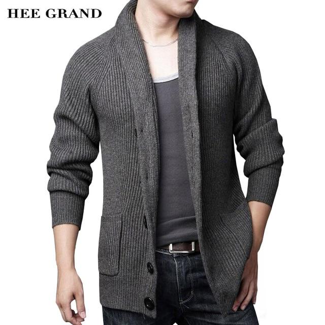 Hee Grand/Для мужчин свитер для повседневной носки Новое поступление 2017 года толстые теплые осень-зима мужской Однобортный кардиган masculino Размеры M-3XL MZM547