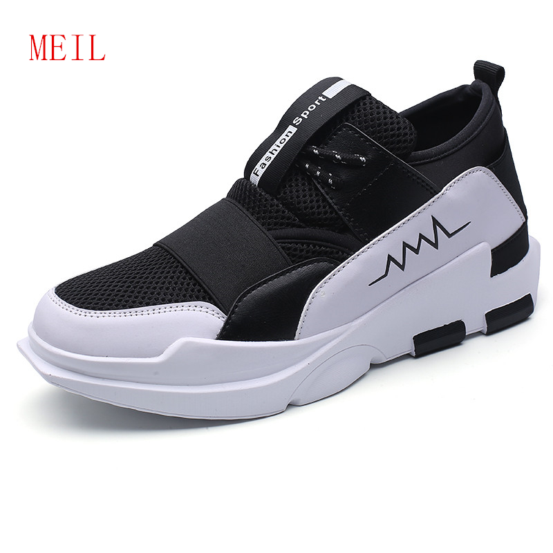 Fashion Fly Knit Sneakers Men Comfortable Casual Breathable Height Increasing Shoes Elevator Get Taller For 6 CM Male Mesh Shoes in Men 39 s Casual Shoes from Shoes