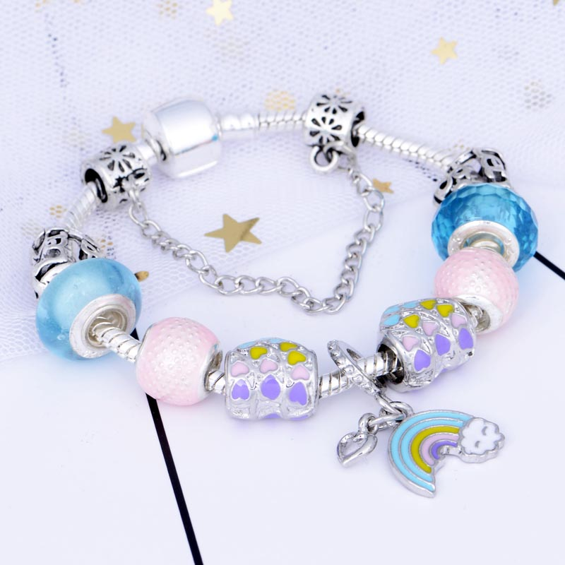 JUNESNOW Classic Rainbow Pendant Charm Bracelet With Murano Glass Beads Fine Bracelets for Women Original DIY Jewelry