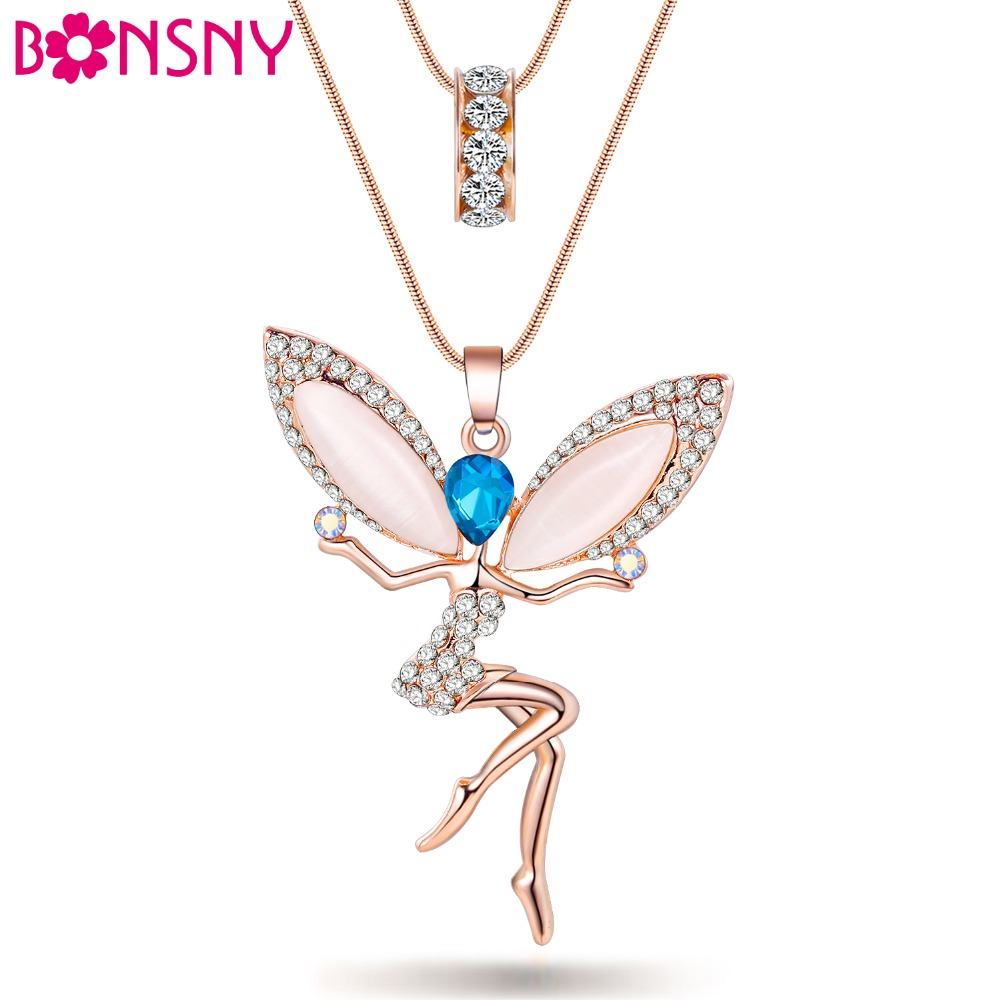 Bonsny Angel Fairy necklace Opal Pendant Cat Eye Crystal Chain New Zinc Alloy Girl Women Fashion Jewelry Accessories