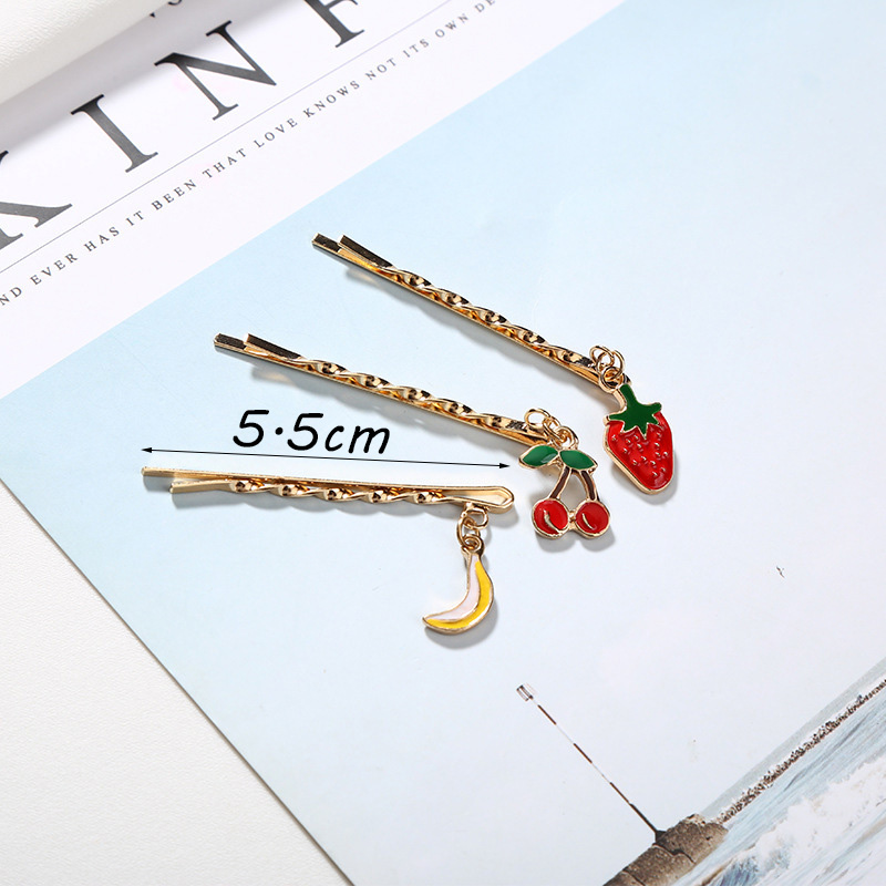 RE 3pcs Fashion fresh fruit moon star bobby pins cute metal wavy hair clips small pendant bangs hairpins girls headdress S40 in Hair Jewelry from Jewelry Accessories