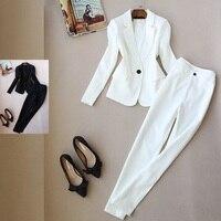 Newarrival Autumn Winte Women Blazer Pants Suits Fashion Solid color Suit office lady Long Jacket & Long Pant 2 piece sets white