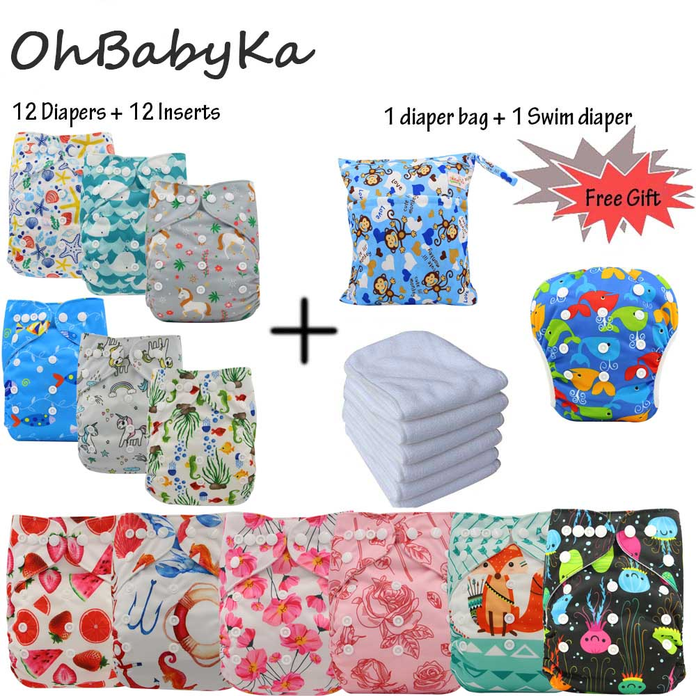Ohbabyka Baby Cloth Diaper Cover 12pcs Reusable Nappies 12pcs Microfiber Insert Free 1Swim Diaper 1Washable Bag