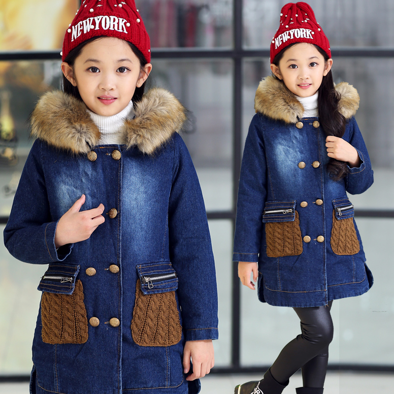 Children thick warm outerwear Jeans jacket casual fur collar coat Fashion baby Cartoon coat girls Knitting Hooded denim jacket dark wash long denim coat jacket with hooded