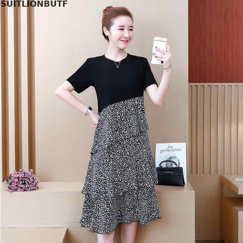 Suitlionbuff L 5XL плюс размер женское летнее платье хлопок и шифон лоскутное тонкое