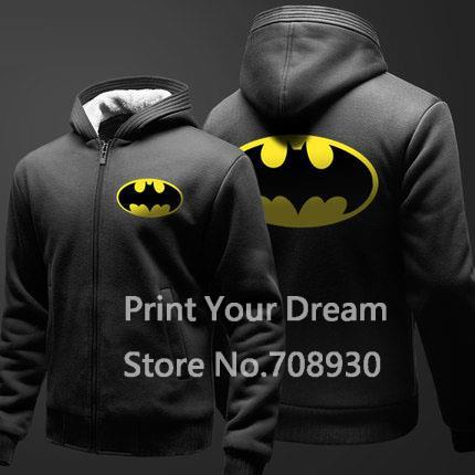 free shipping Superhero Batman Winter Thicken Warm solid Hoodies sweatshirt Fleece Men women casual hoody