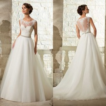 Hot Selling Scoop Neck Sleeveless Ball Gown Wedding Dress Bridal Gown Long Cap Sleeve Tulle Bridal Wedding Gown Vestidoe F1518 купить дешево онлайн