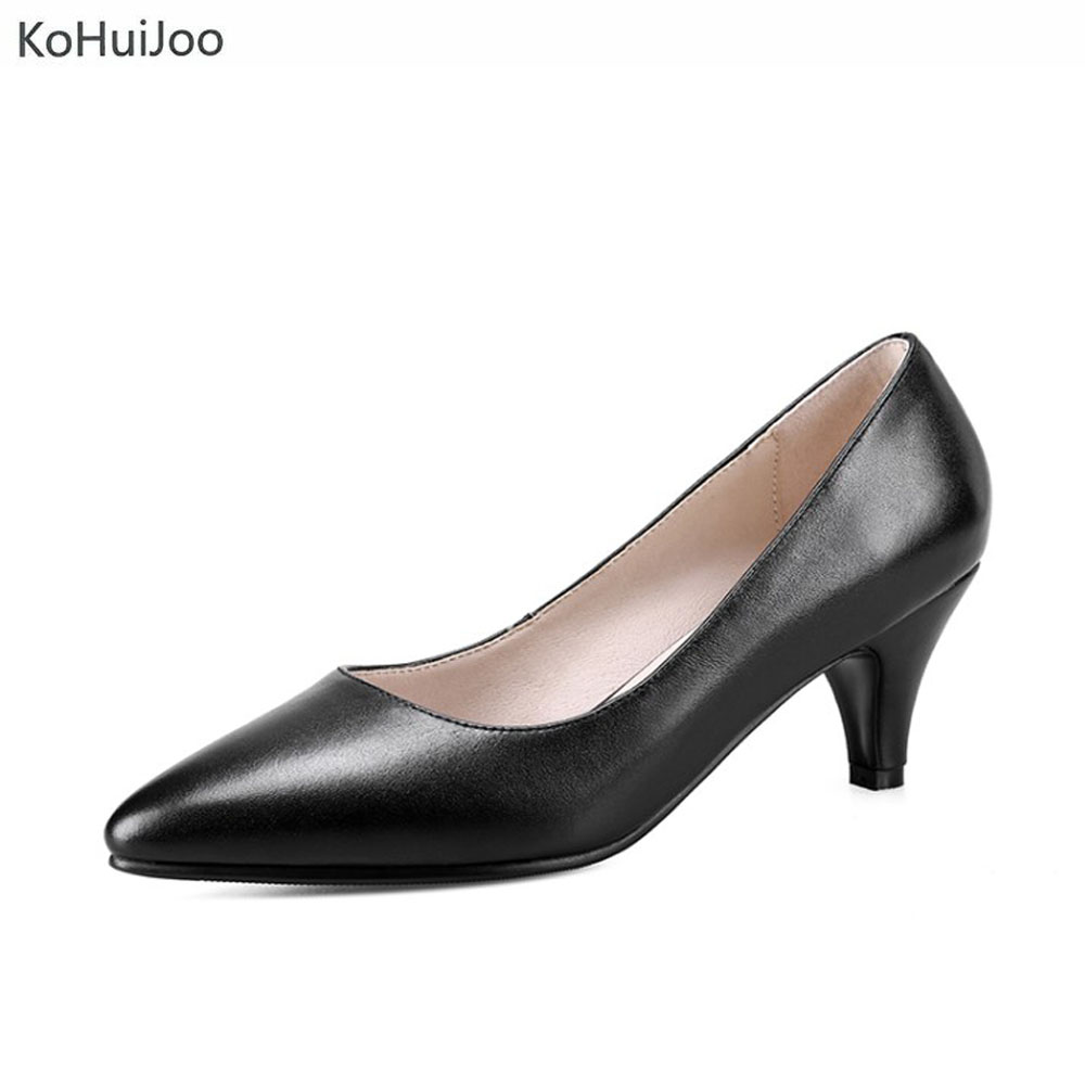 KoHu8Joo 2018 Women Genuine Leather Dress Shoes Office Lady Sexy Spike Heels Pointed Toe Pumps High Heels Boat Shoes Big Size цена