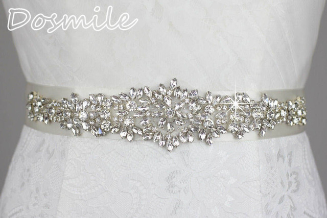 Cheap free shipping bride Rhinestones Belt Crystal appliques ivory/white ribbon bling unique bridal belt