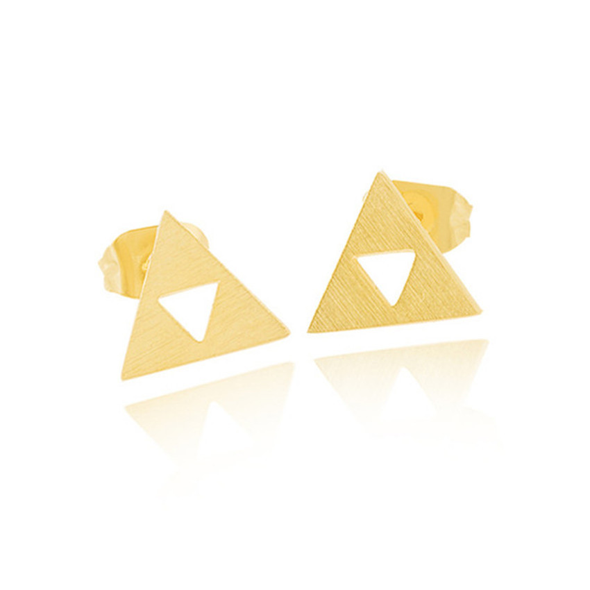 GORGEOUS TALE Stainless Steel Vintage Jewelry Geometric Gold Color Triangle Earring For Women Legend of Zelda Slopes Earrings