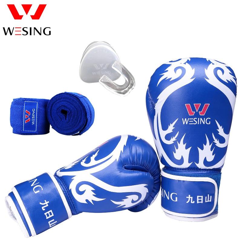 Wesing sanda training equipment set boxing gloves  teeth protector handrap punch bag gloves active letter pattern hooded design cut out tracksuit in black